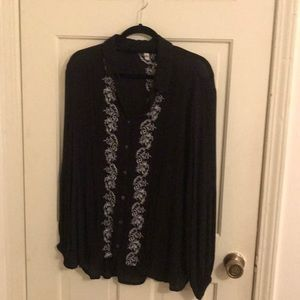 Free People Black Embroidered Buttondown Size L